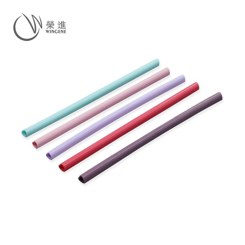 亚马逊热销食品级循环硅胶吸管彩色软吸管